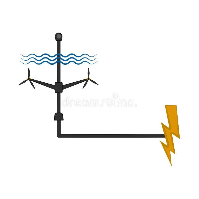 Golfelektrische centrale aan een dondersymbool dat wordt aangesloten vector illustratie