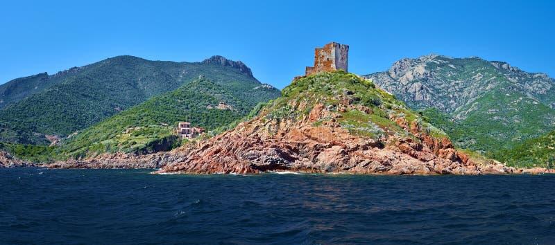 Golfen av den Girolata kustlinjen dominerade vid det Genoese tornet fotografering för bildbyråer