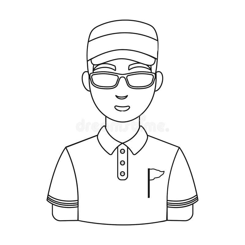 golfer Ενιαίο εικονίδιο γκολφ κλαμπ στο διανυσματικό Ιστό απεικόνισης αποθεμάτων συμβόλων ύφους περιλήψεων ελεύθερη απεικόνιση δικαιώματος