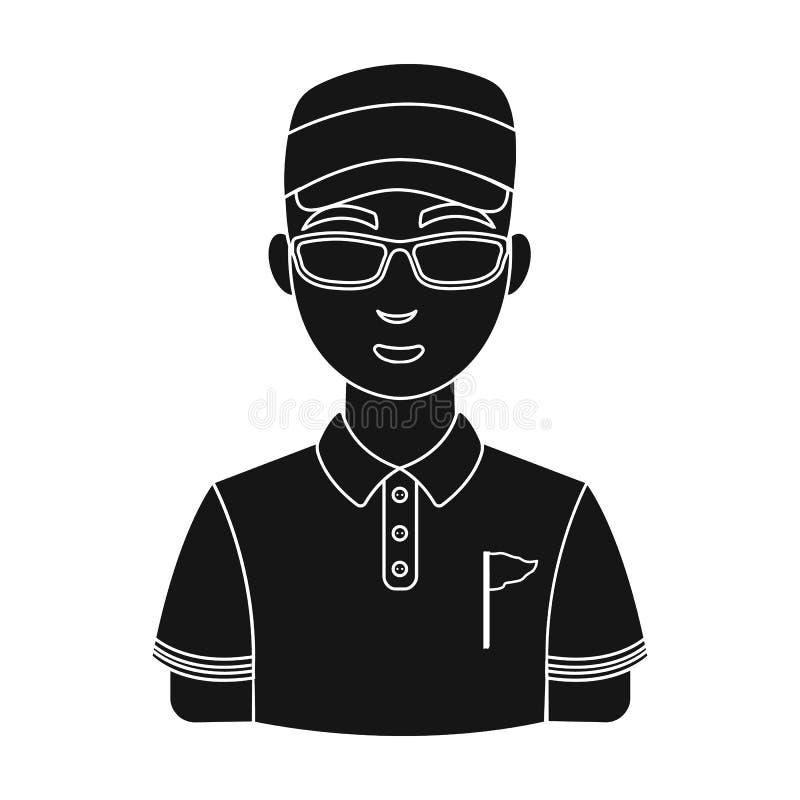 golfer Ενιαίο εικονίδιο γκολφ κλαμπ στο μαύρο Ιστό απεικόνισης αποθεμάτων συμβόλων ύφους διανυσματικό διανυσματική απεικόνιση