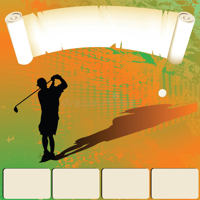 Golfer. Hand draw silhouette of a golfer shooting, web template with room for text stock illustration