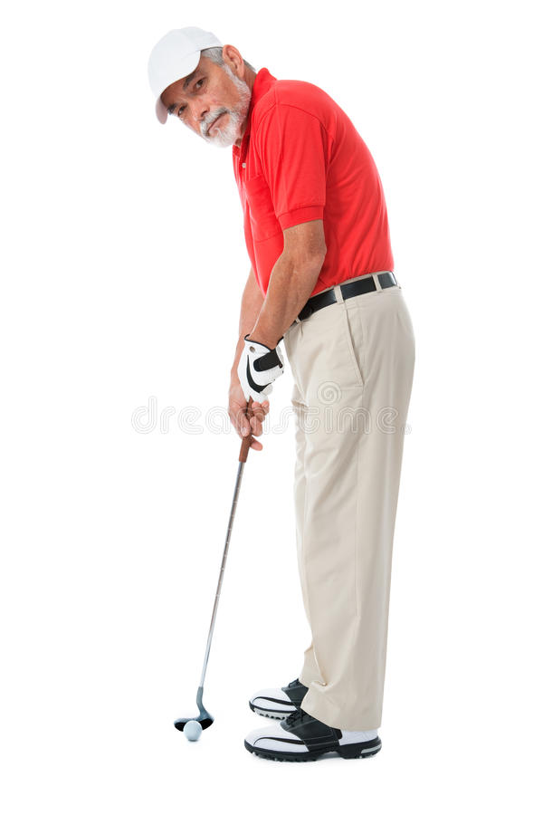 Golfer. Isolated on a white background royalty free stock photo
