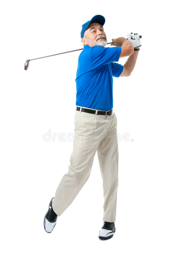 Golfer. Isolated on a white background royalty free stock photos