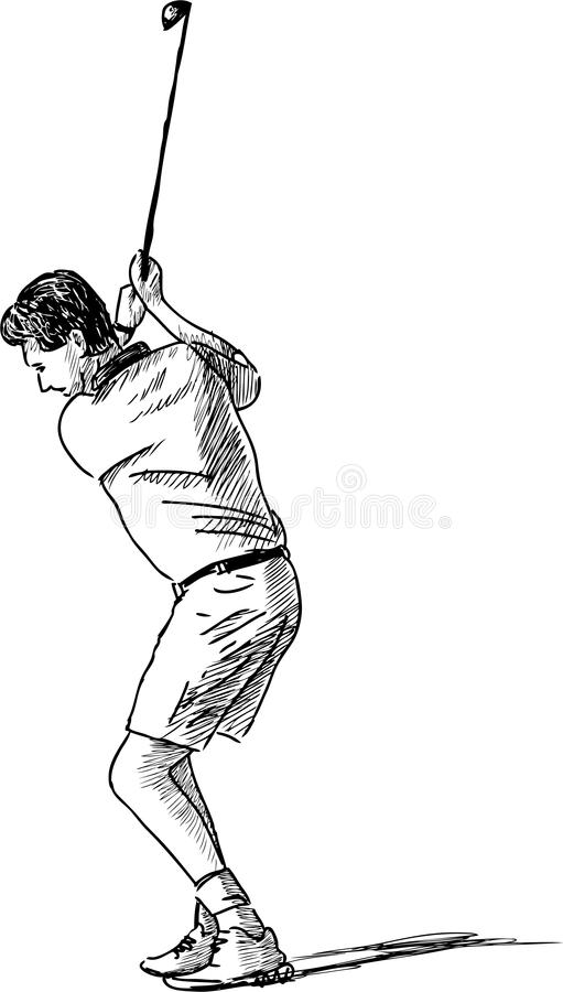 Golfer. Vector drawing of the person playing golf stock illustration