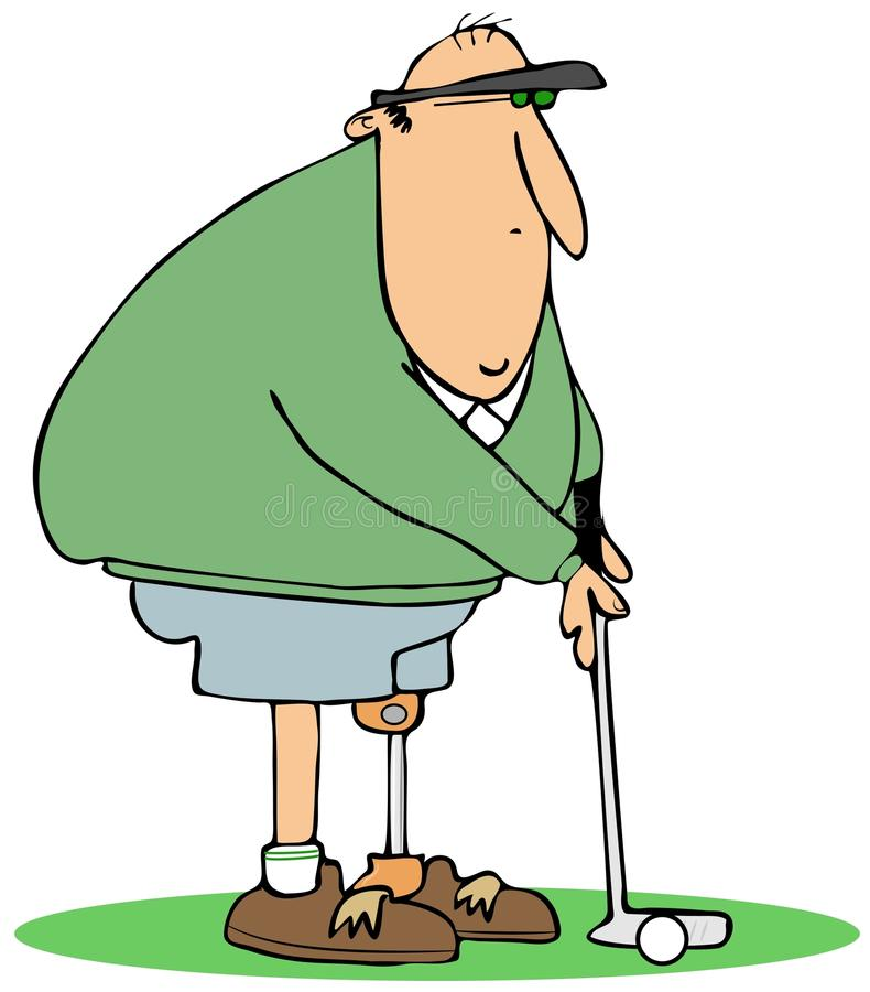 Golfer with an artificial leg. This illustration depicts a golfer standing on an artificial leg vector illustration