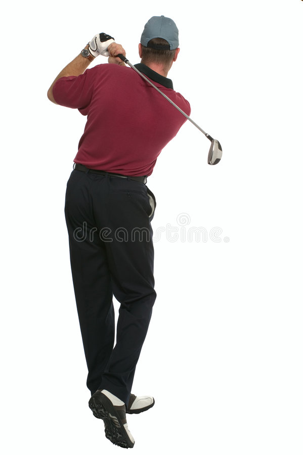 Golfer back swing rear view. Rear view of a golfer during his back swing royalty free stock image
