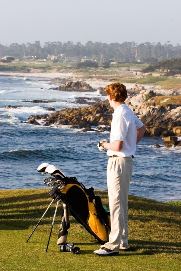 Golfer on the Coast stock photos
