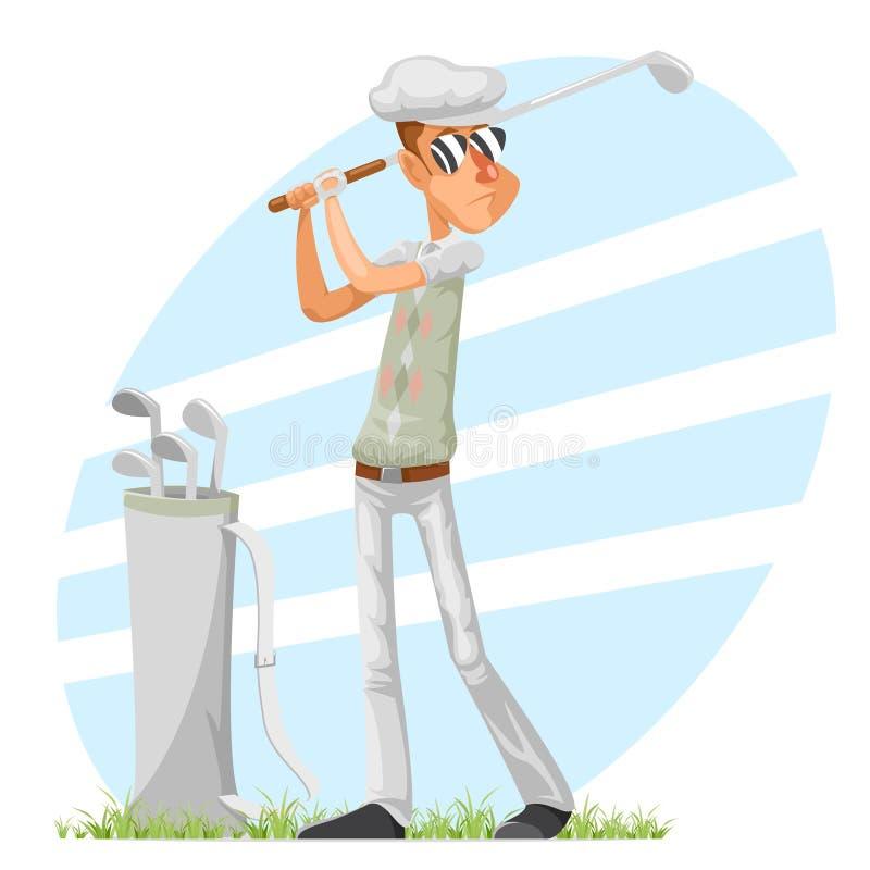 Golfer cool professional player adjusts glove champion golf club cartoon character design vector illustration stock illustration