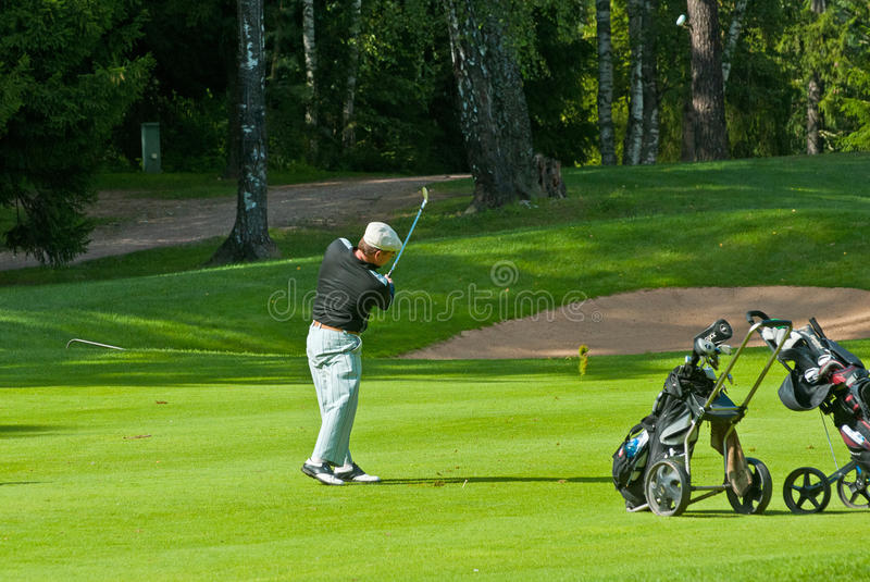 Download Golfer finishes his swing editorial stock image. Image of leisure - 19059274