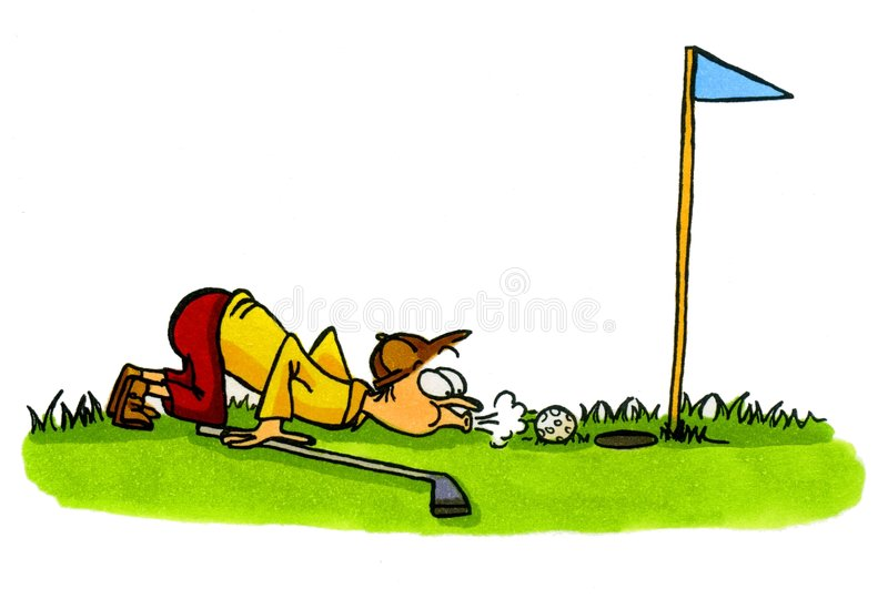Golfer - Golf Cartoons Series Number 4. This Golfer is trying to cheat a bit :-) Artwork was created manually with markers on illustration board vector illustration