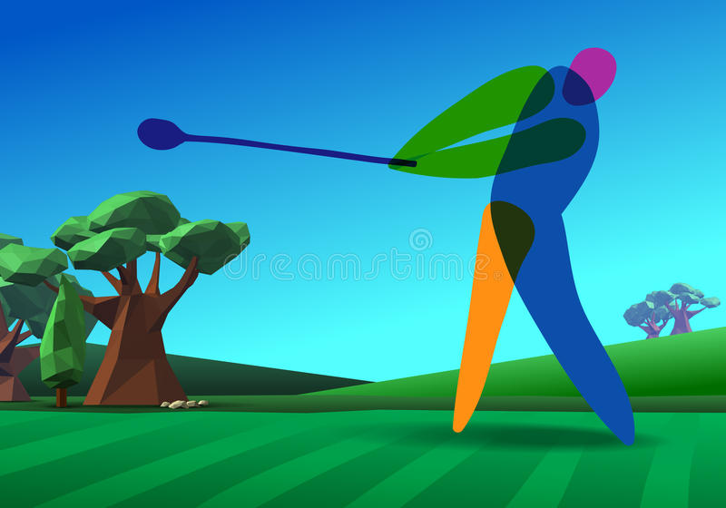 Golfer on golf course. Golf player on golf hole banner vector green tee background illustration with trees royalty free illustration