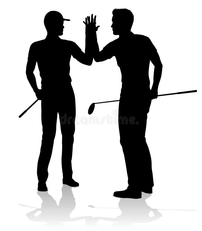 Golfer Golf Sports People in Silhouette stock illustration