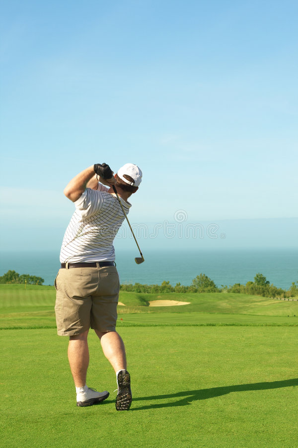 Golfer on the green stock images