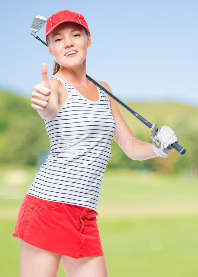 Golfer happy in success, happy portrait royalty free stock photo