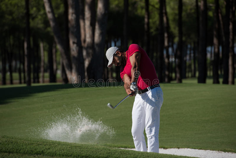 Download Golfer Hitting A Sand Bunker Shot Stock Photo - Image of male, golfer: 72732708