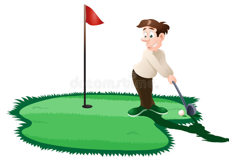 Golfer. Illustration of a man playing golf on isolated white background stock illustration