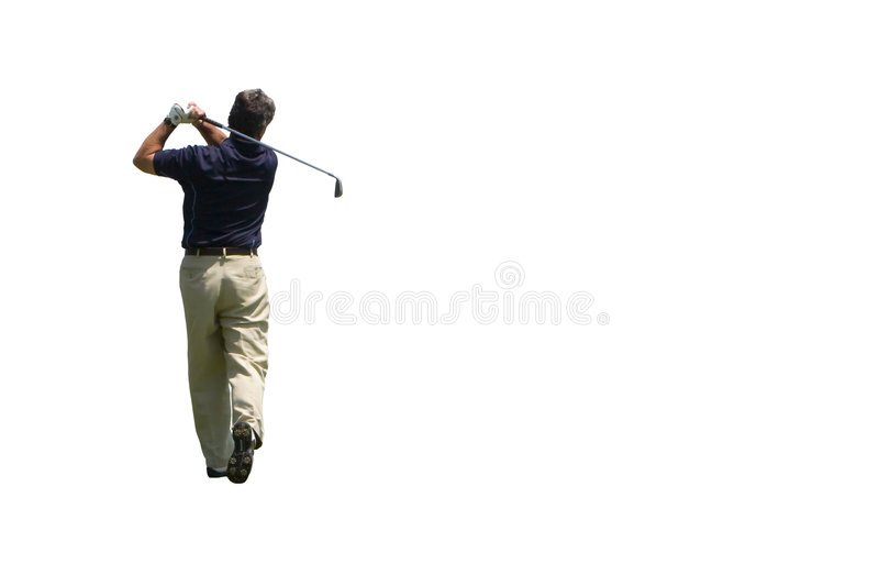 Golfer Iron shot isolated