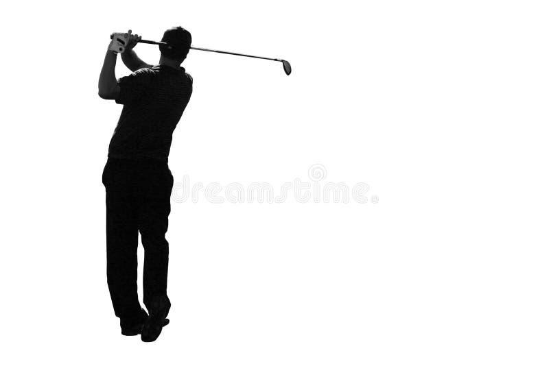 Golfer Isolated. Male athletic golfer at finish of swing isolated on white background