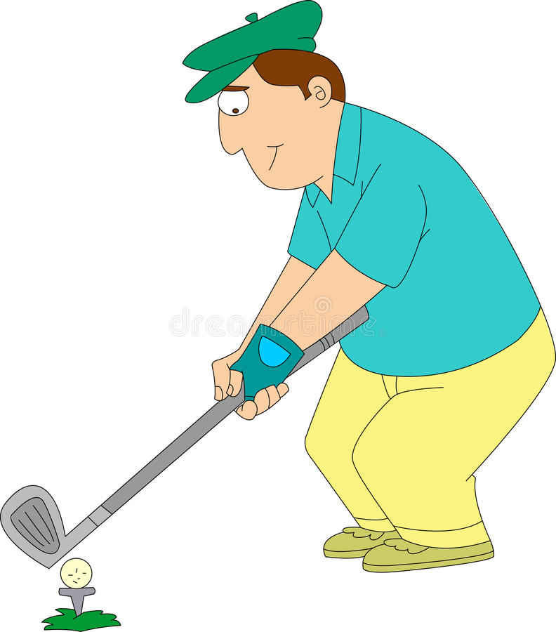 Golfer. Man in golf clothes and hat teeing off on golf course royalty free illustration