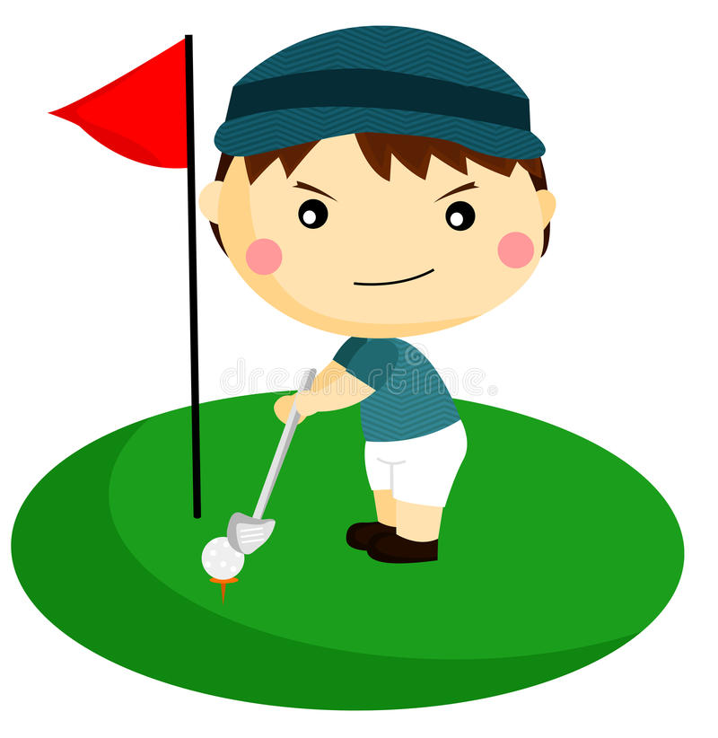 Golfer. A man playing golf in the field royalty free illustration