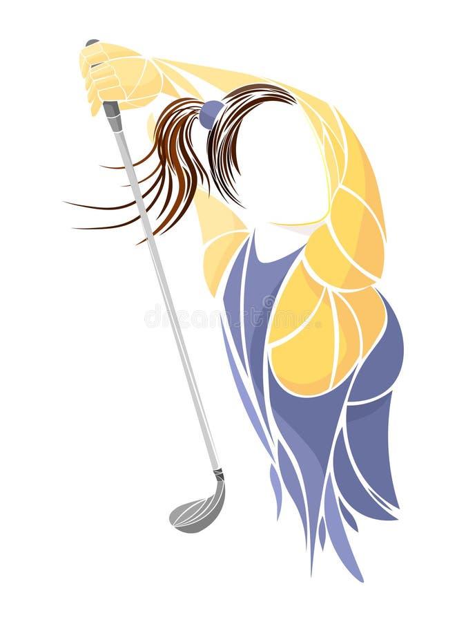 Golfer player, athlete. Golfer on golf course. Golf sport vector illustration