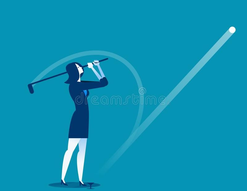 Golfer Post Swing. Businesswomen play golf. Concept business vector illustration. vector illustration