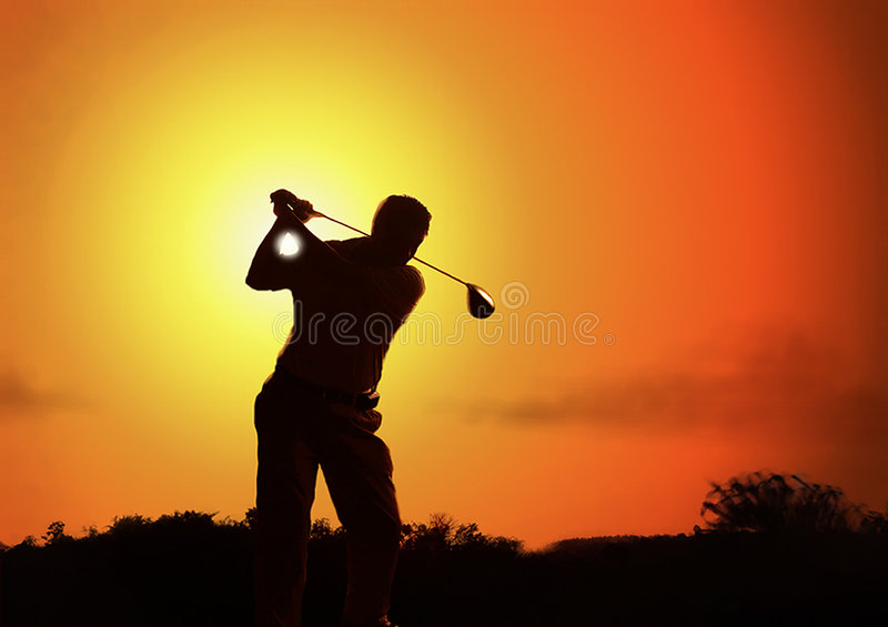Golfers silhouette stock photo
