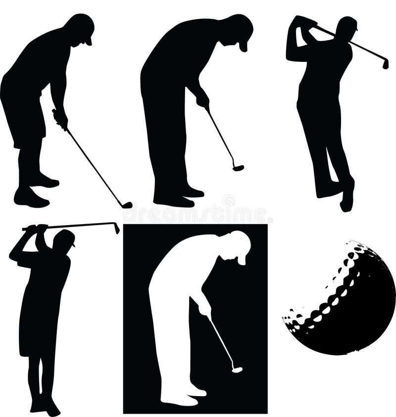 Golfer silhouette stock illustration