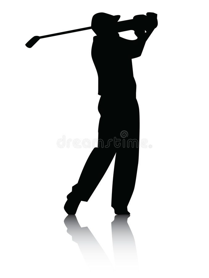 Golfer silhouette with Shadow royalty free stock images