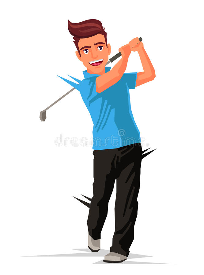 Golfer with a stick. Sports. Golfer with a stick. Vector illustration on white background. Sports concept vector illustration