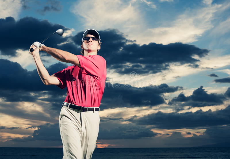 Download Golfer at sunset stock photo. Image of game, action, golf - 34957722