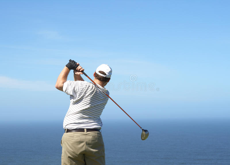 Golfer on the tee box stock images
