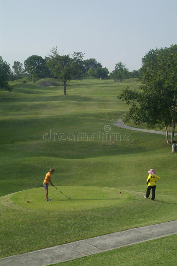 Download Golfer at tee-off stock image. Image of driver, grass, stroke - 763913