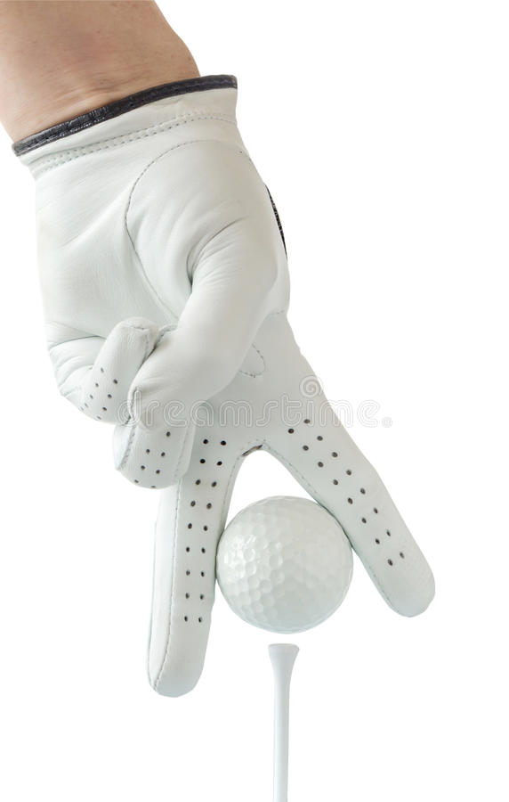 Golfer use two fingers holding golf ball place on tee with white royalty free stock image