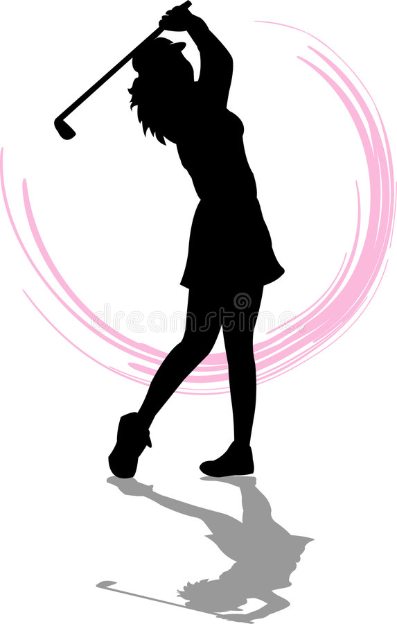 Golfer Woman. Illustration of a woman swinging a golf club