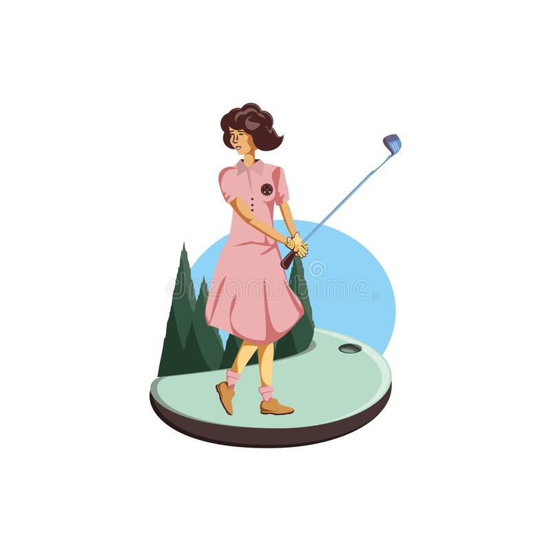 Golfer woman with field and stick golf stock illustration