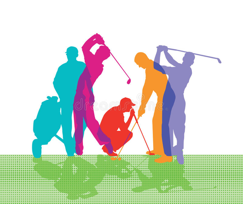 Golfers vector illustration