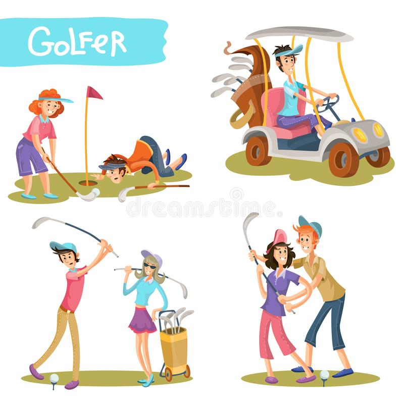 Free Golfers Funny Cartoon Characters Vector Set Stock Images - 101219864
