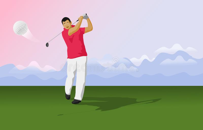 Golfers are hitting the ball on the golf course. There are mountains in the background stock illustration