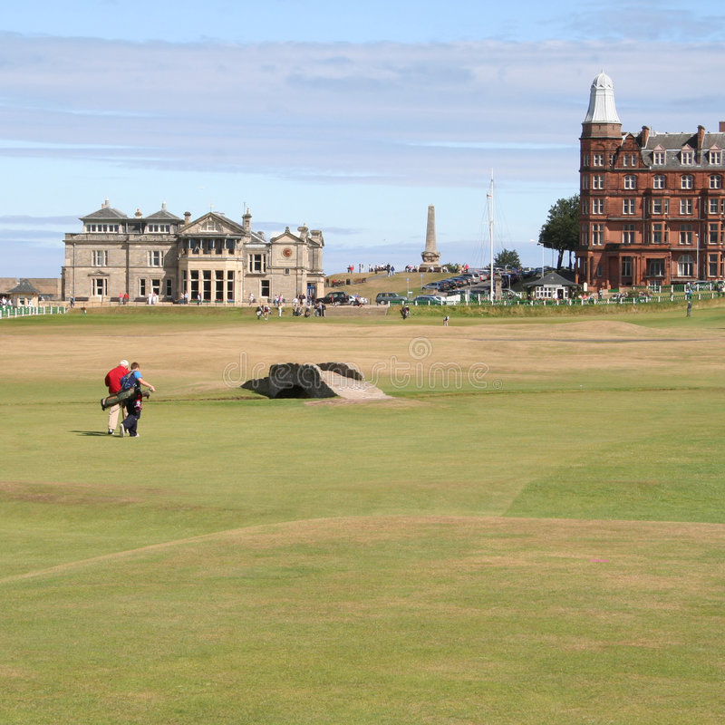 Golfers walking St Andrews stock photos