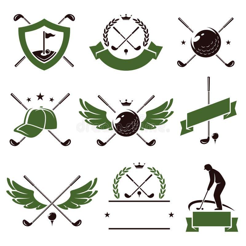 Golfetikett- och symbolsuppsättning vektor vektor illustrationer