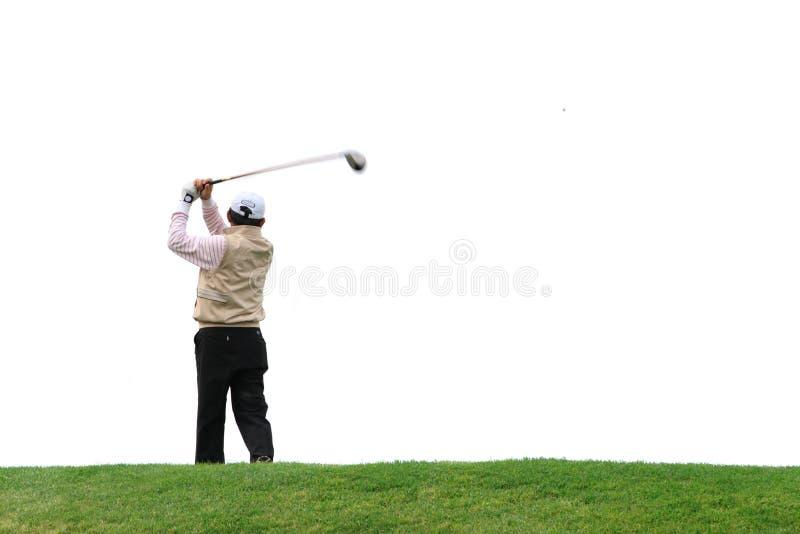 Golfeur au-dessus du fond blanc photo stock
