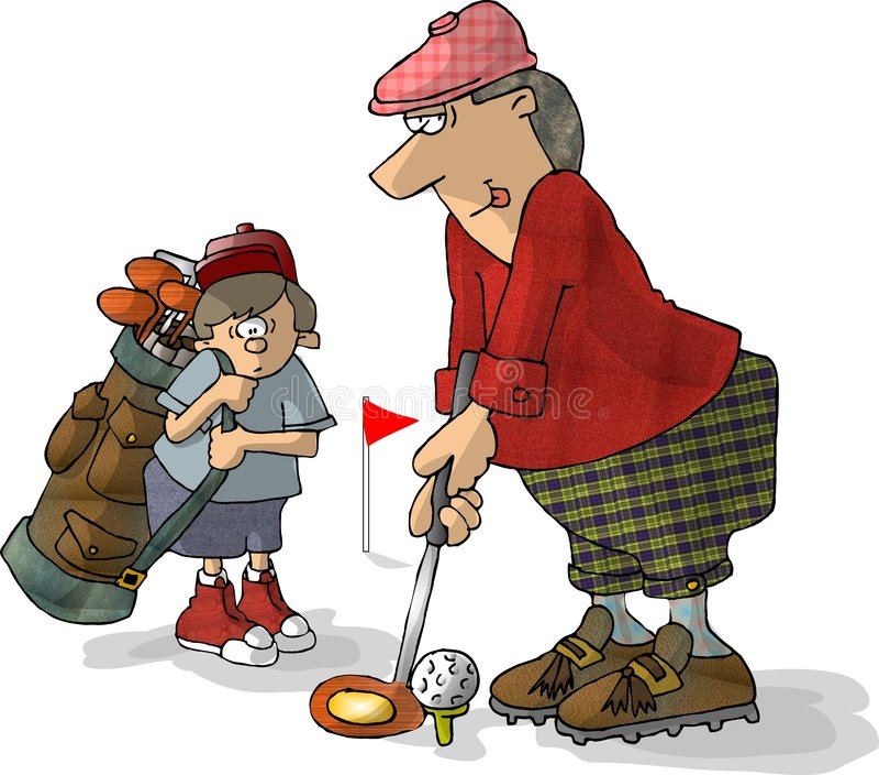 Golfeur et chariot illustration libre de droits