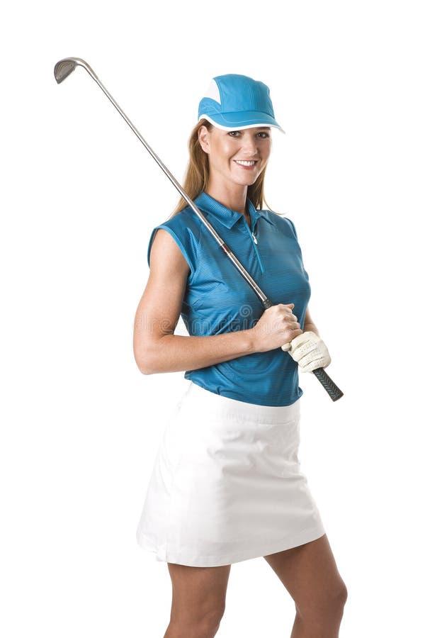 Golfeur féminin avec le club de golf photographie stock libre de droits