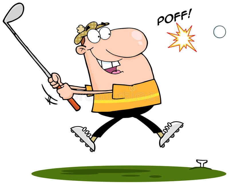 Golfeur heureux heurtant la bille de golf illustration libre de droits