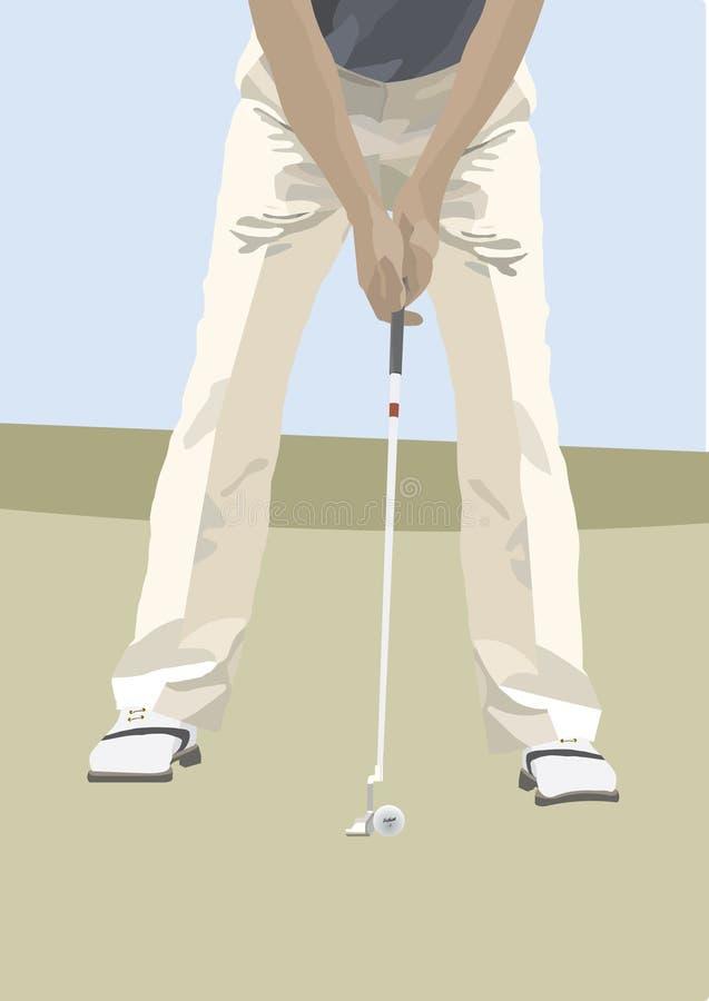 Golfeur heurtant la bille illustration de vecteur