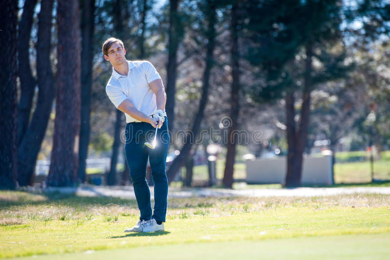 Golfeur jouant un coup caché sur le vert image stock