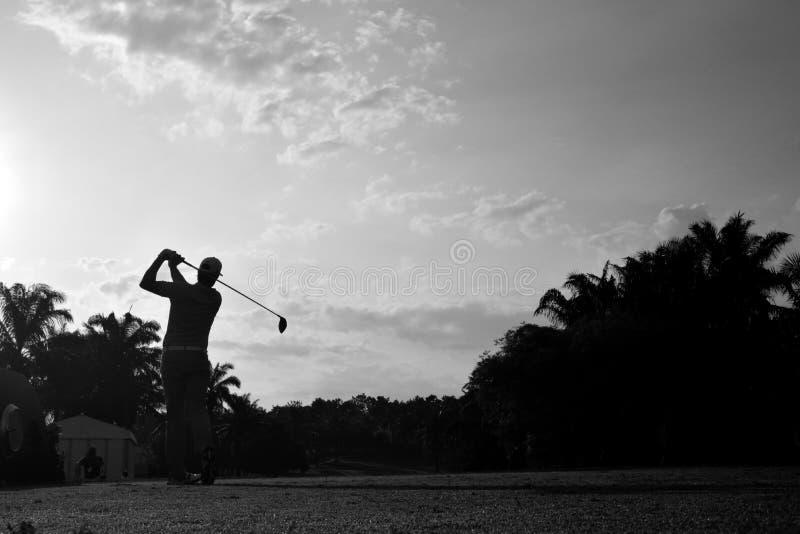 Download Golfeur noir et blanc image stock. Image du cours, coup - 87707427