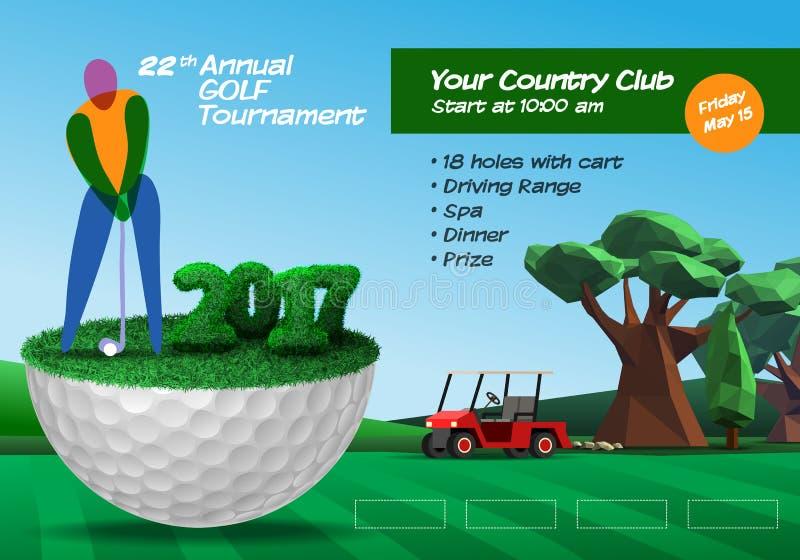 Golfeur se tenant sur la demi boule de golf Brochu horizontal de billet de golf illustration de vecteur