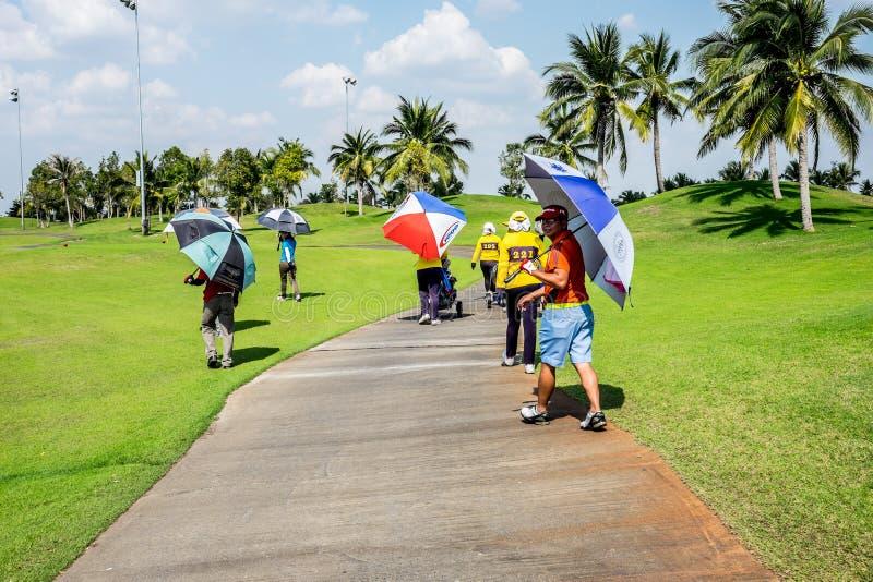 Golfeurs et caddies marchant sur le chemin image stock